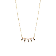 Zoë Chicco 14kt Yellow Gold 5 Black Baguette Diamond Pave Curved Bar Necklace