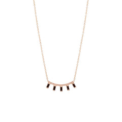 Zoë Chicco 14kt Gold 5 Black Baguette Diamond Pave Curved Bar Necklace