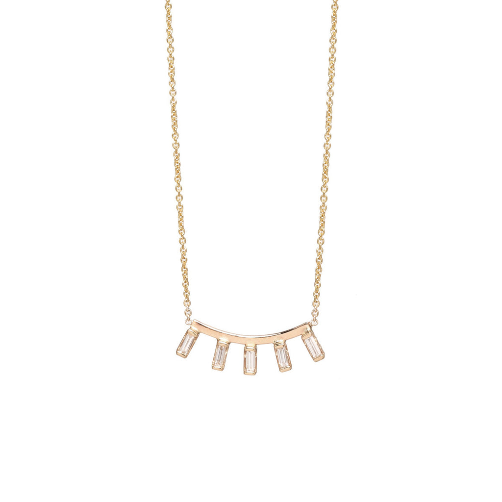 14k curved bar and 5 baguette diamond necklace