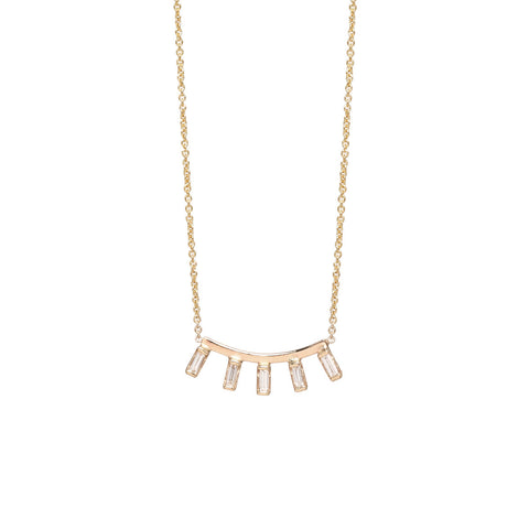 Zoë Chicco 14kt Yellow Gold 5 Baguette Diamond Curved Bar Necklace