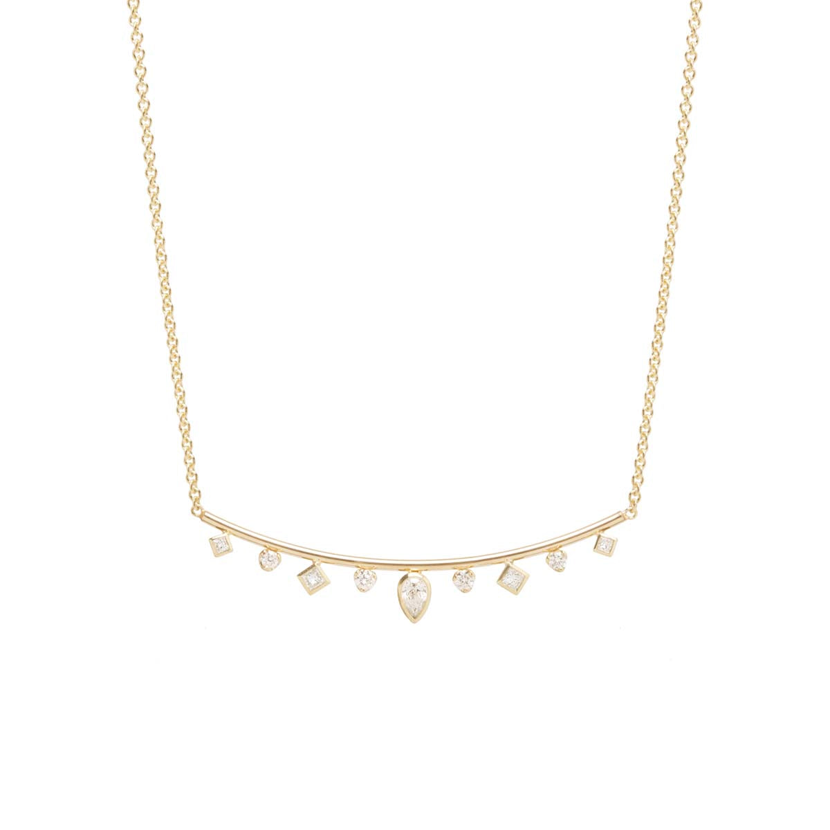 Zoë Chicco 14kt Yellow Gold Mixed Fancy Cut Diamond Curved Bar Necklace