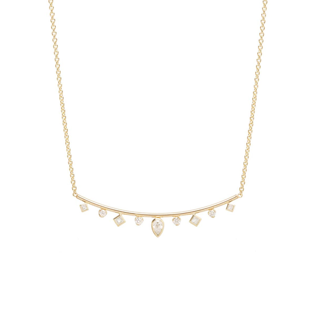 Zoë Chicco 14kt Gold Mixed Fancy Cut Diamond Curved Bar Necklace