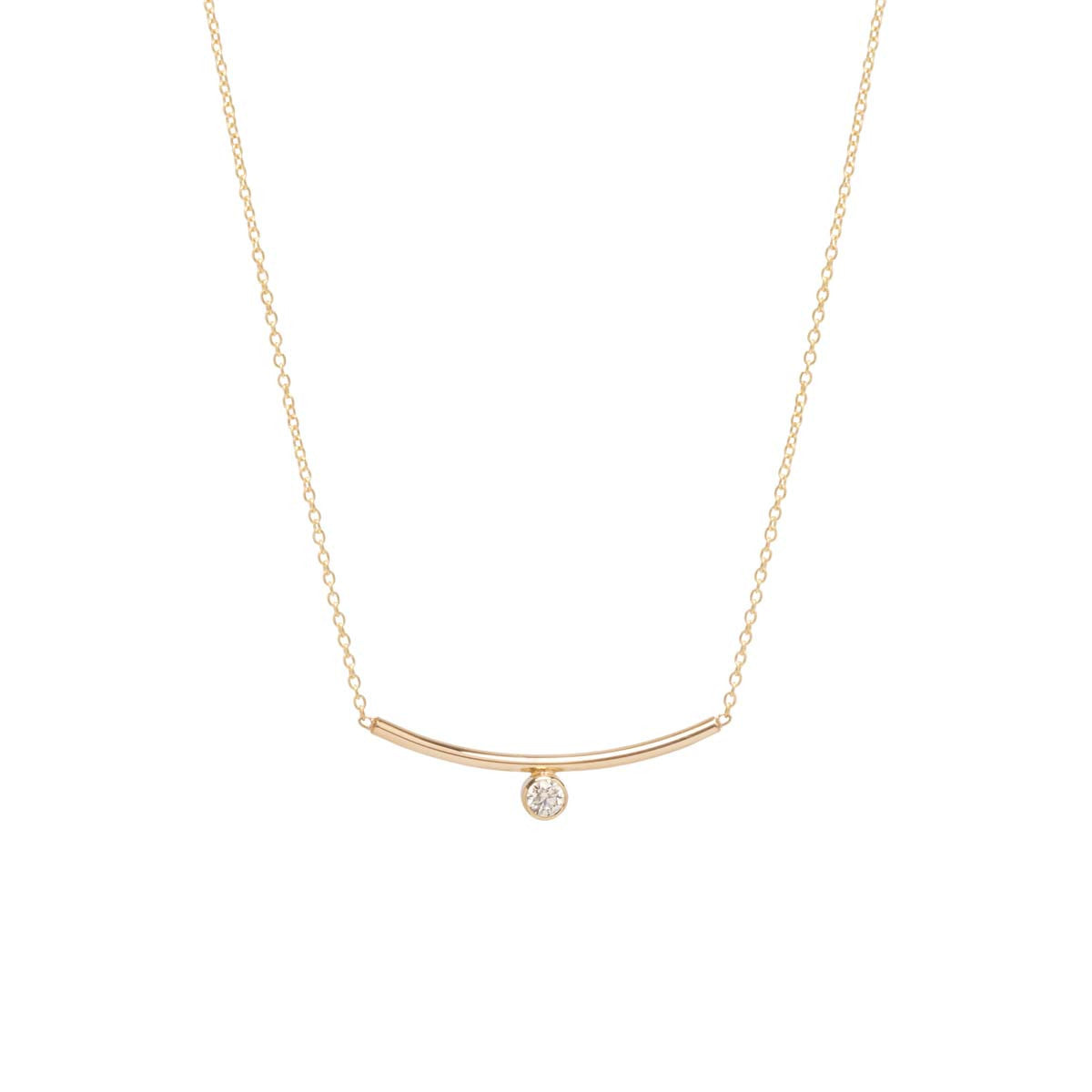 Zoë Chicco 14kt Yellow Gold Bezel Set White Diamond Curved Bar Necklace