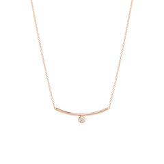Zoë Chicco 14kt Rose Gold Bezel Set White Diamond Curved Bar Necklace
