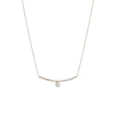 Zoë Chicco 14kt White Gold Bezel Set White Diamond Curved Bar Necklace