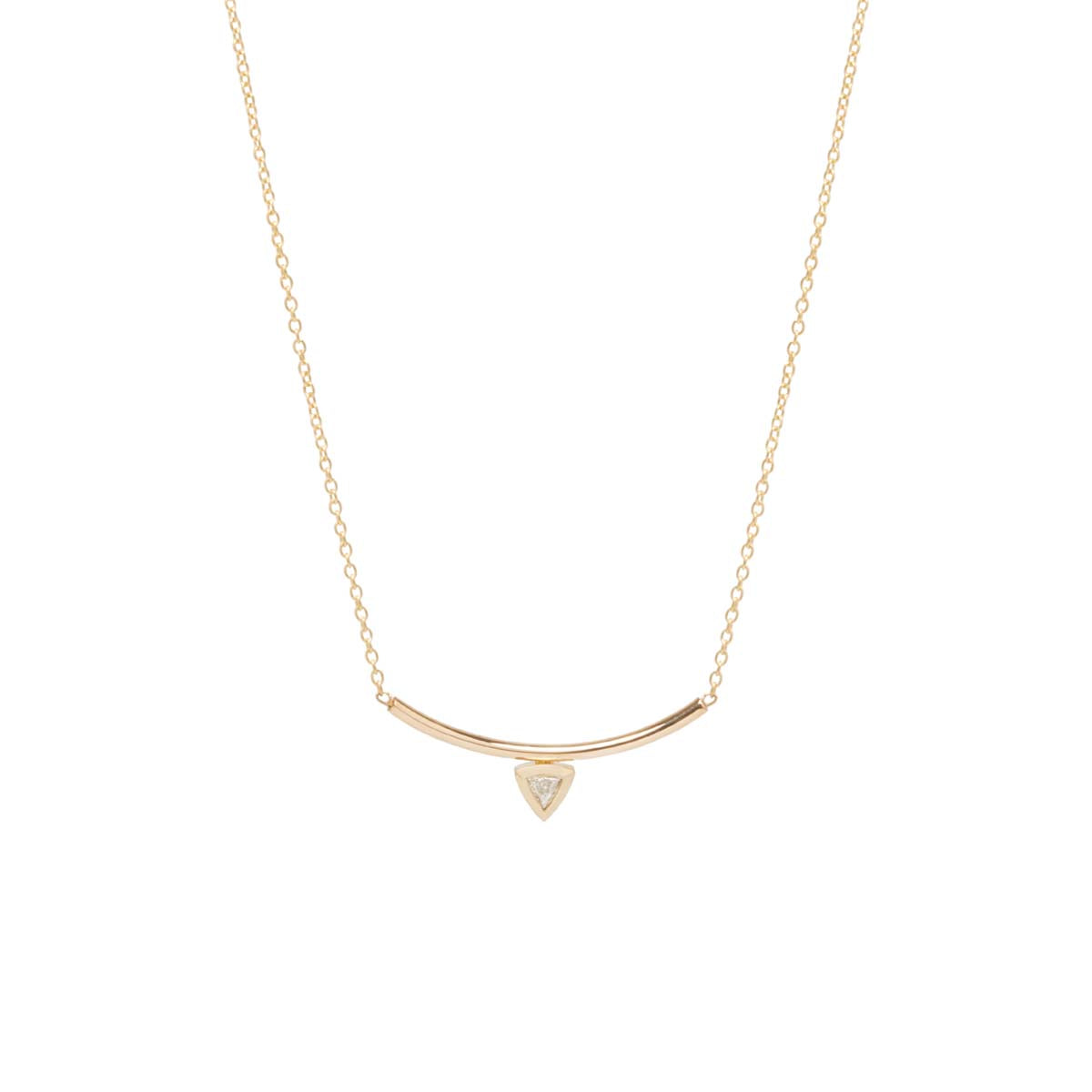 14k trillion diamond curved bar necklace