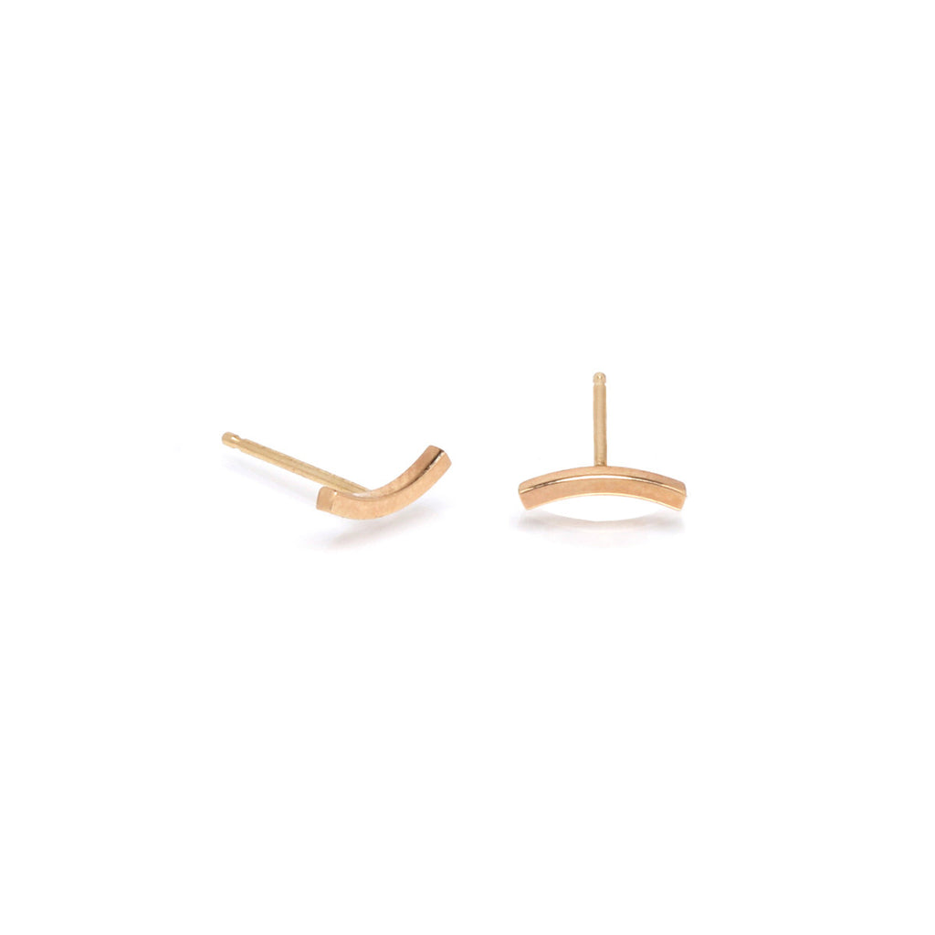 Zoë Chicco 14kt Yellow Gold Curved Bar Stud Earrings