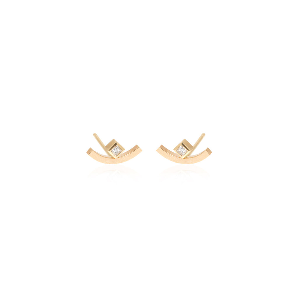 14k princess diamond and curved bar studs