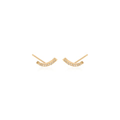 14k pave curved bar studs