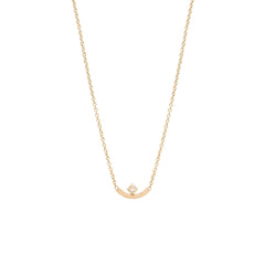 Zoë Chicco 14kt Yellow Gold Princess Cut Diamond Curved Bar Necklace