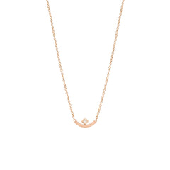 Zoë Chicco 14kt Rose Gold Princess Cut Diamond Curved Bar Necklace