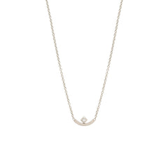 Zoë Chicco 14kt White Gold Princess Cut Diamond Curved Bar Necklace