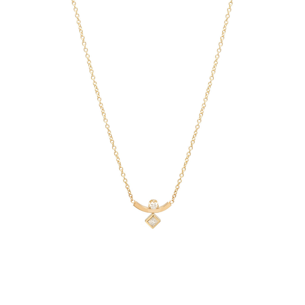 14k Curved Bar Mixed Diamond Necklace