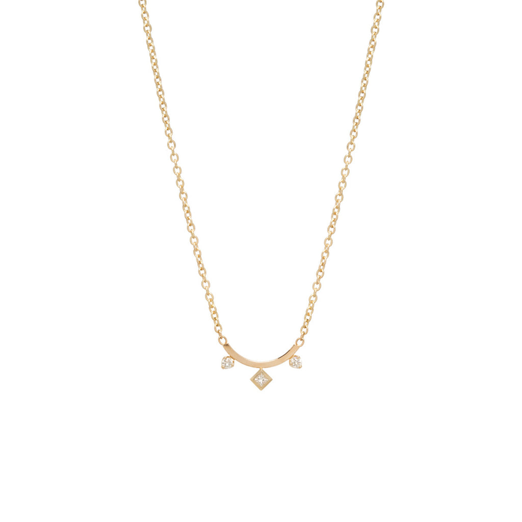 14k three mixed diamonds curved bar necklace