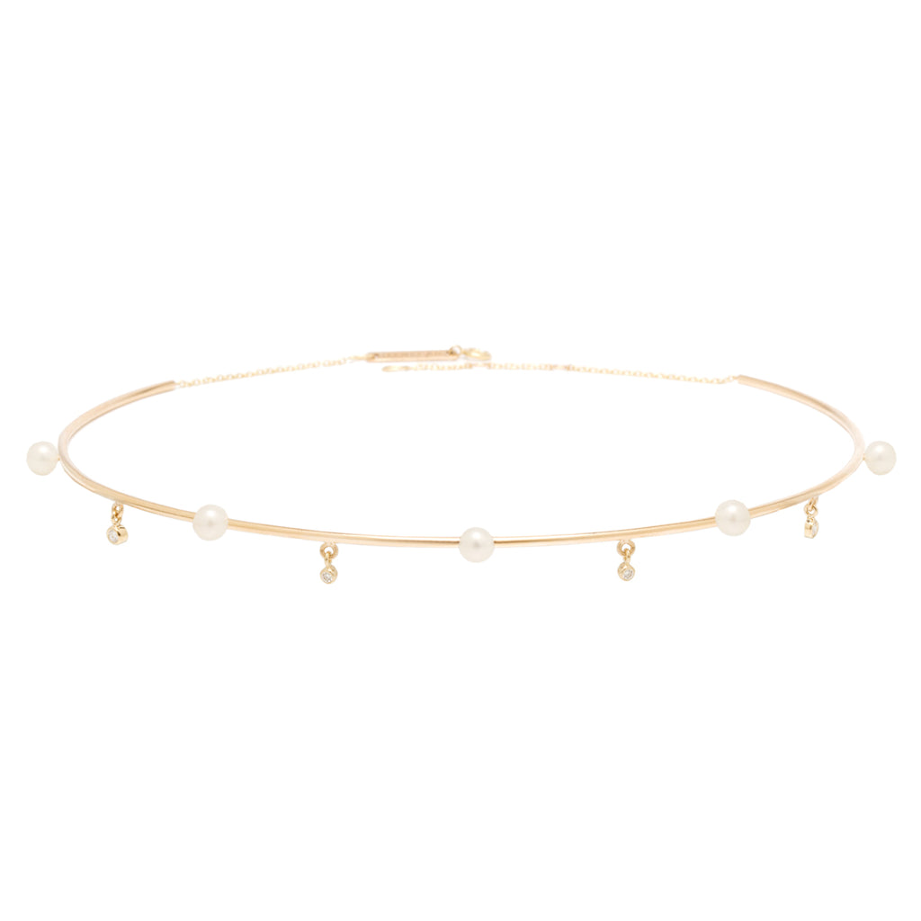 14k pearl and diamond wire choker