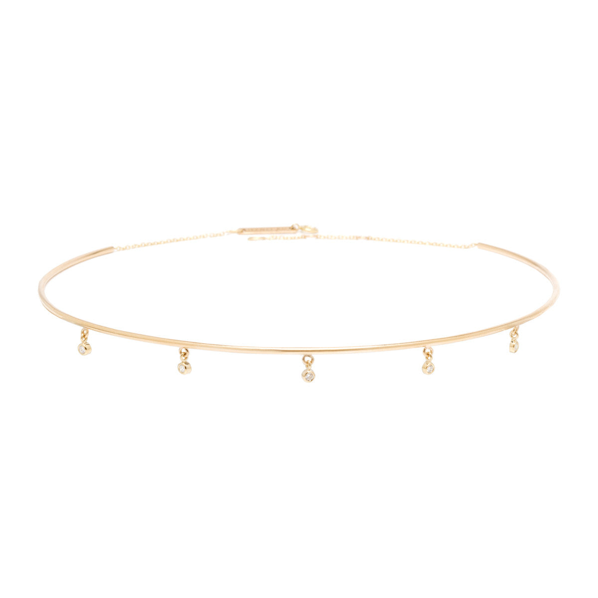 Zoë Chicco 14kt Yellow Gold Dangling 5 White Diamond Wire Choker Necklace