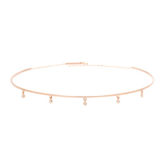 Zoë Chicco 14kt Rose Gold Dangling 5 White Diamond Wire Choker Necklace