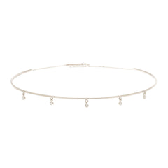 Zoë Chicco 14kt White Gold Dangling 5 White Diamond Wire Choker Necklace