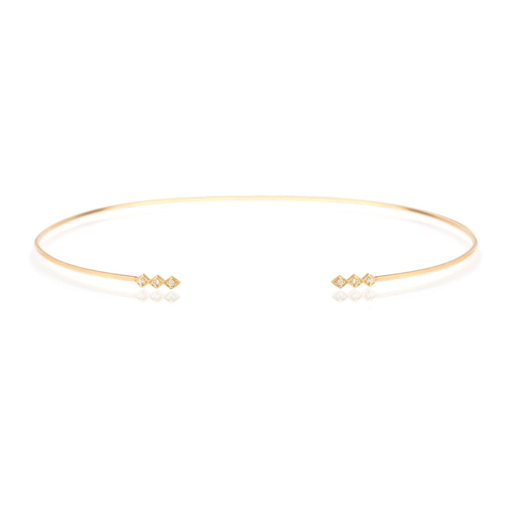 Zoë Chicco 14kt Yellow Gold 3 White Diamond Shape Open Wire Choker Necklace
