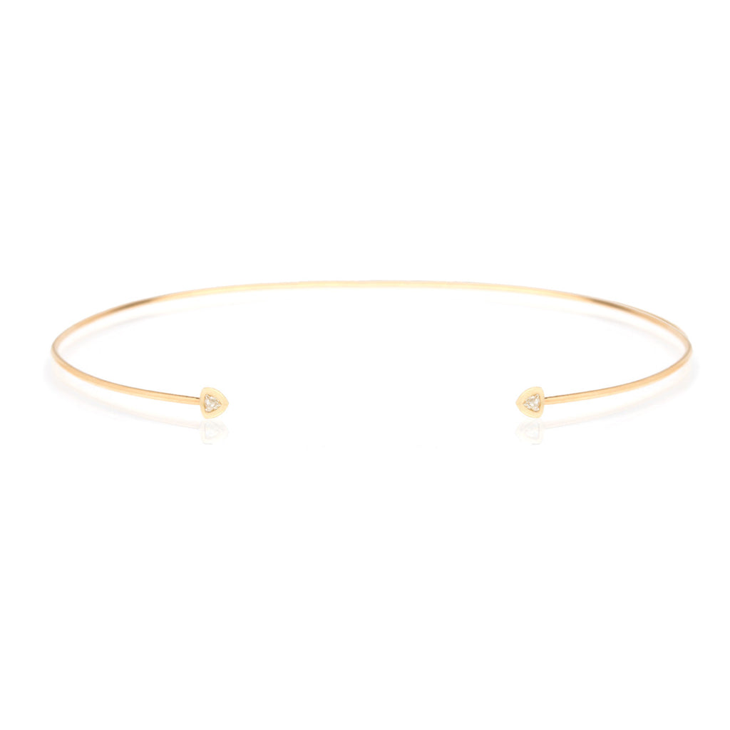 14k trillion diamond open wire choker necklace