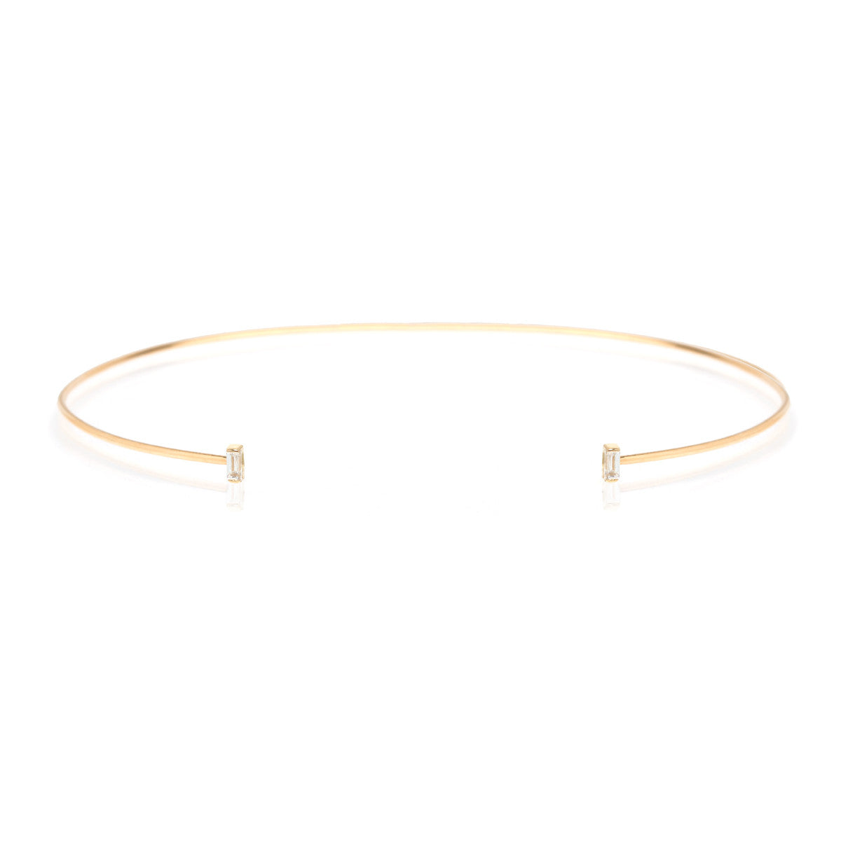 Zoë Chicco 14kt Yellow Gold White Baguette Diamond Open Wire Choker Necklace
