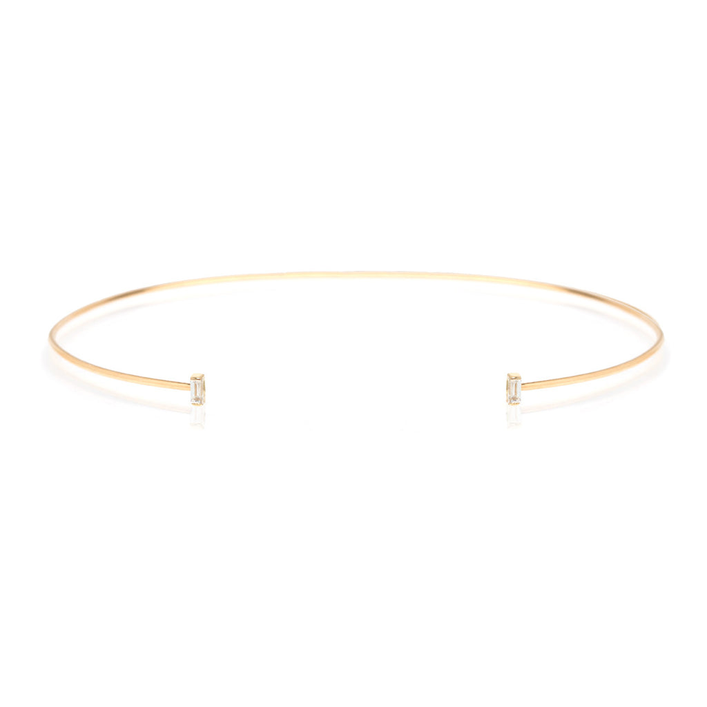 14k baguette diamond open wire choker necklace