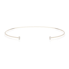 Zoë Chicco 14kt White Gold White Baguette Diamond Open Wire Choker Necklace