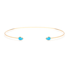 14k turquoise open wire choker necklace