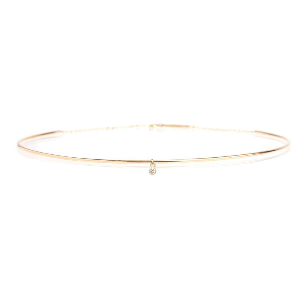 Zoë Chicco 14kt Yellow Gold Choker With Single Bezel White Diamond Dangle Necklace
