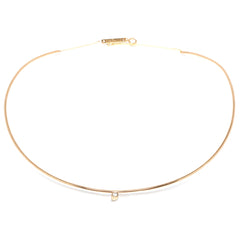 14k single bezel diamond collar necklace
