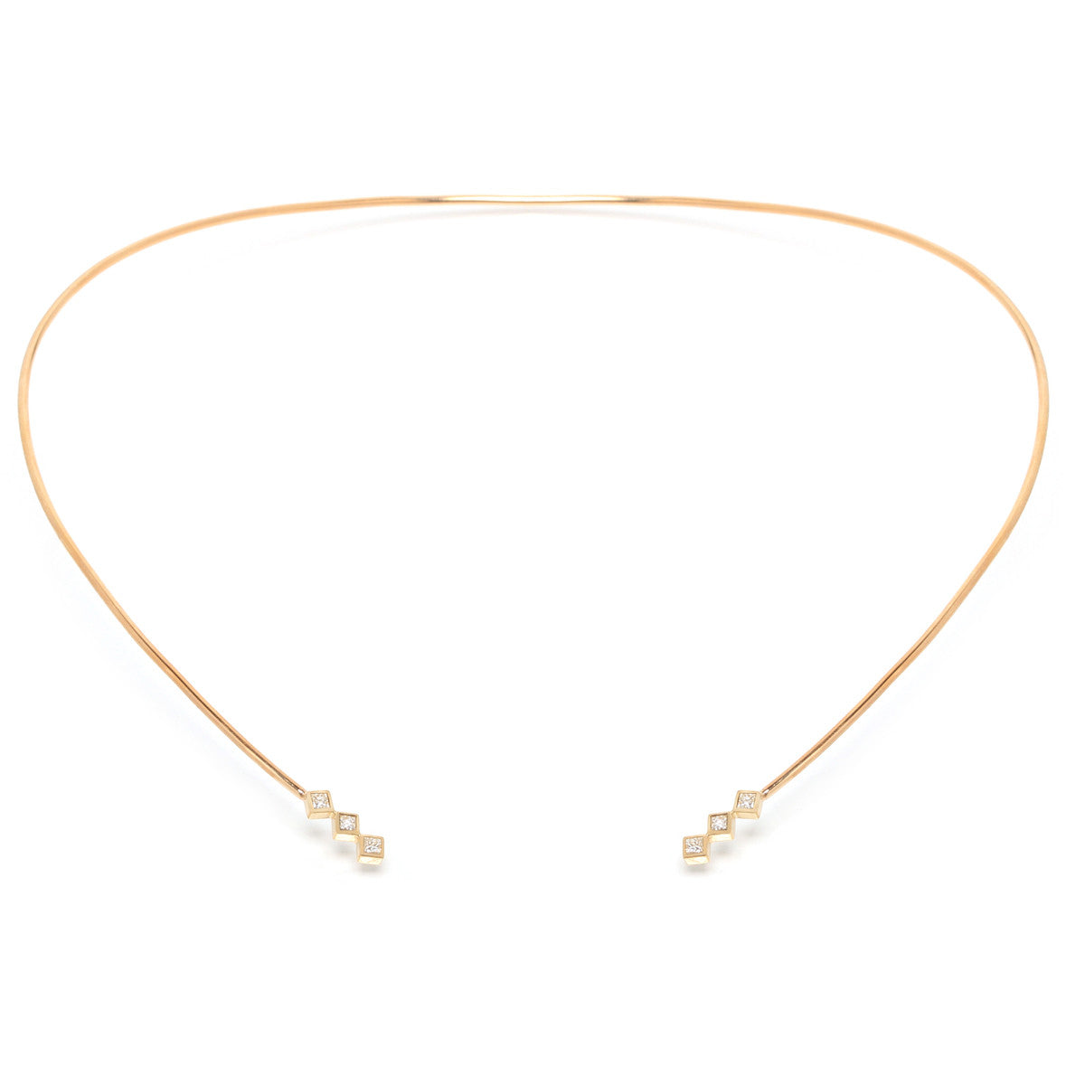 Zoë Chicco 14kt Yellow Gold 6 Princess Cut White Diamond Collar Necklace