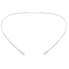 14k 6 princess diamond collar necklace