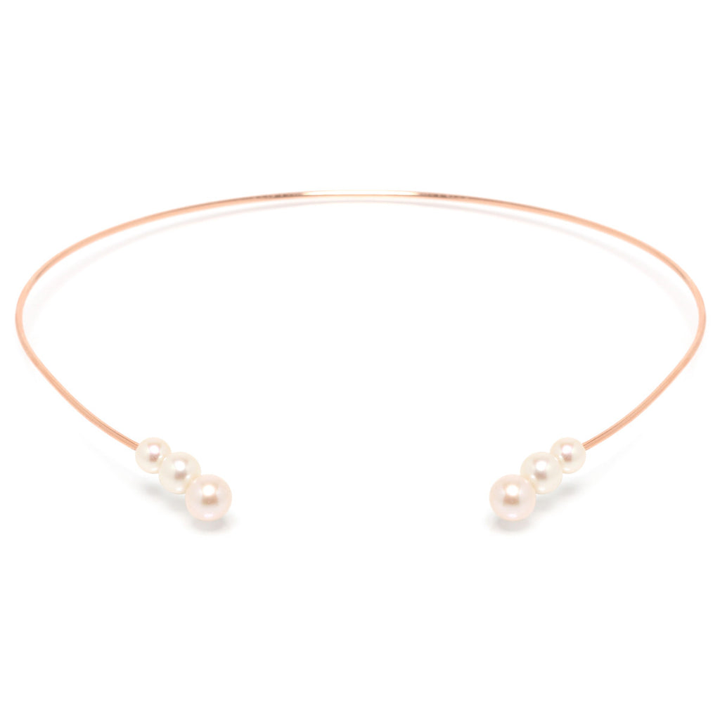 14k pearl open collar necklace