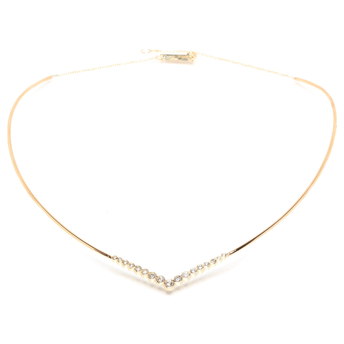 Zoë Chicco 14kt Yellow Gold Graduated V Bezel Set Diamond Collar Necklace