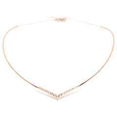 Zoë Chicco 14kt Rose Gold Graduated V Bezel Set Diamond Collar Necklace