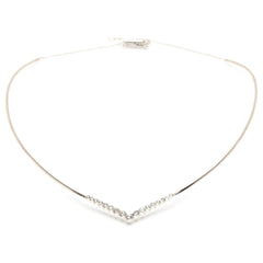 Zoë Chicco 14kt White Gold Graduated V Bezel Set Diamond Collar Necklace