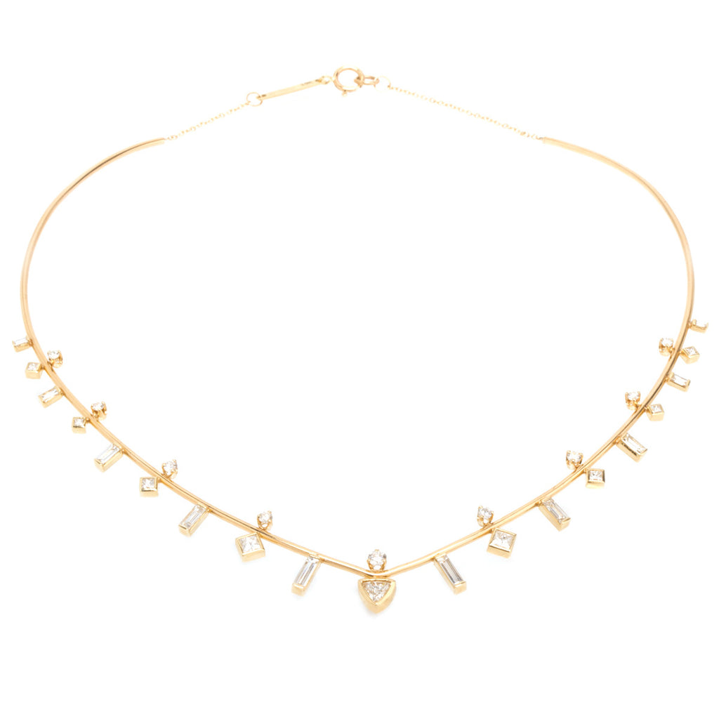 14k paris diamond collar necklace
