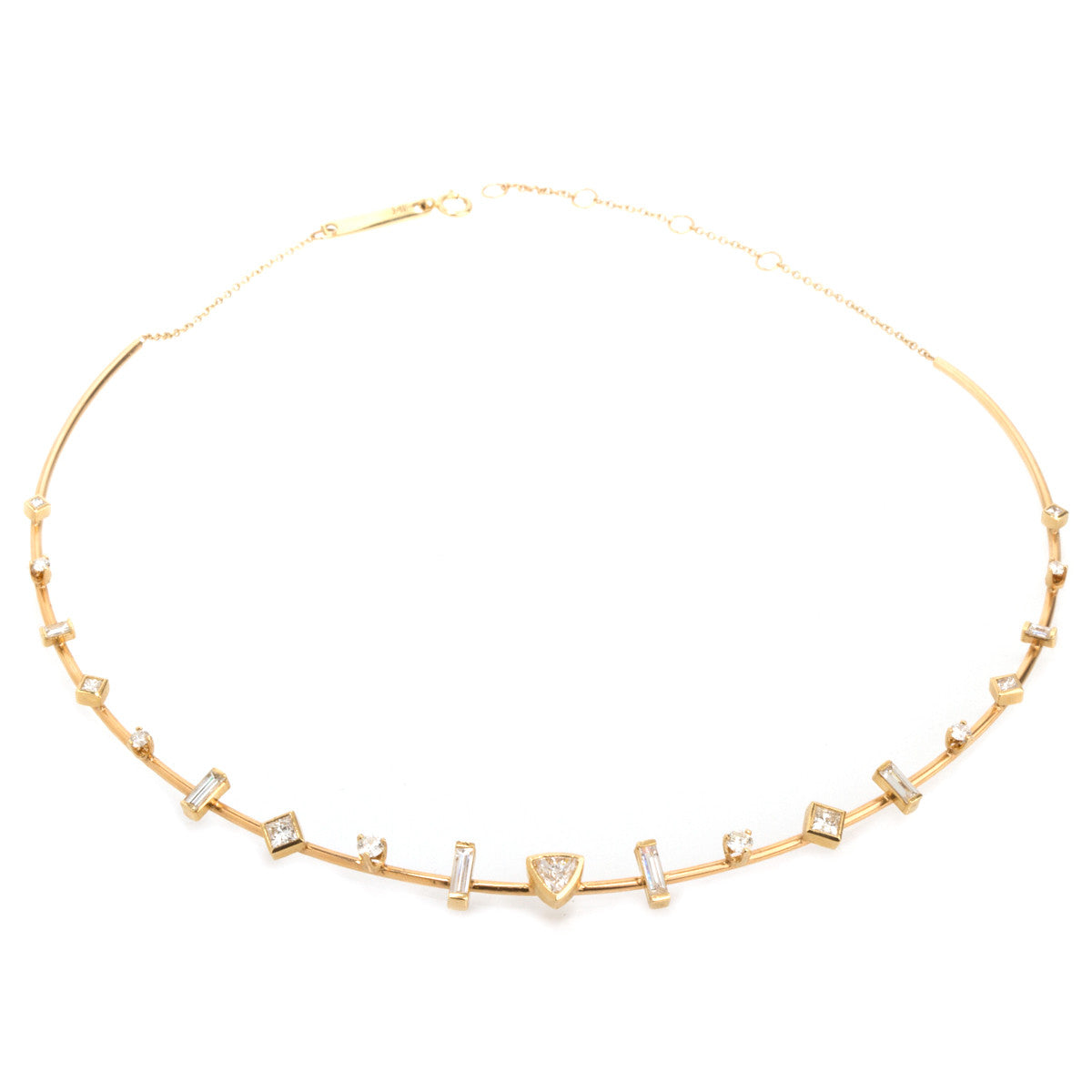14k paris diamond wire choker necklace