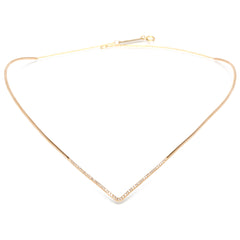 14k pave pointed collar necklace