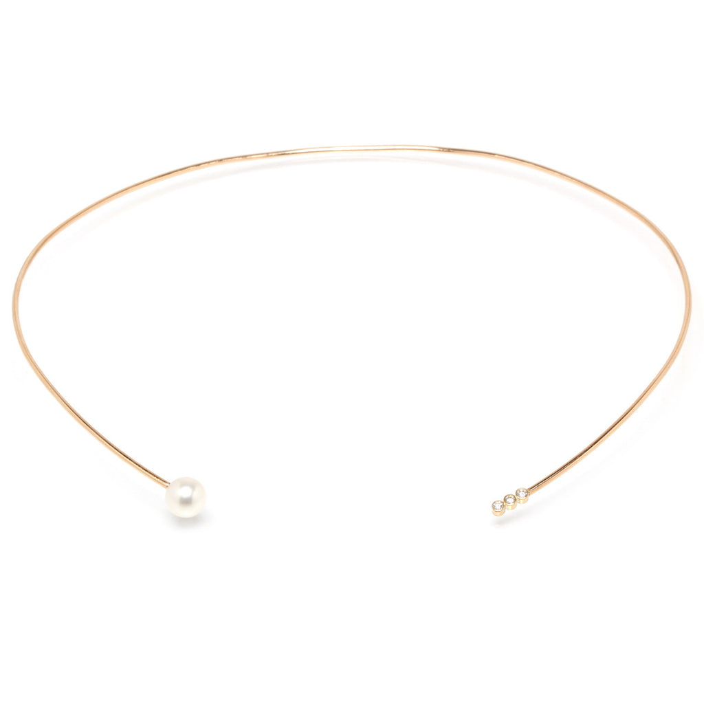14k pearl and bezel diamond collar necklace