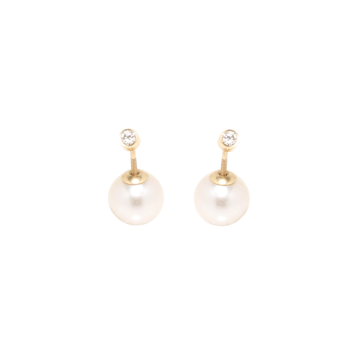 14k diamond and pearl reversible studs