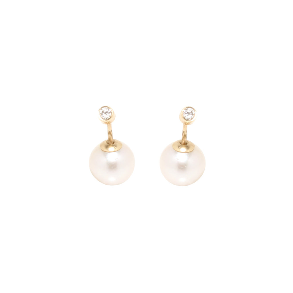 Zoë Chicco 14kt Gold White Diamond and Pearl Reversible Stud Earrings