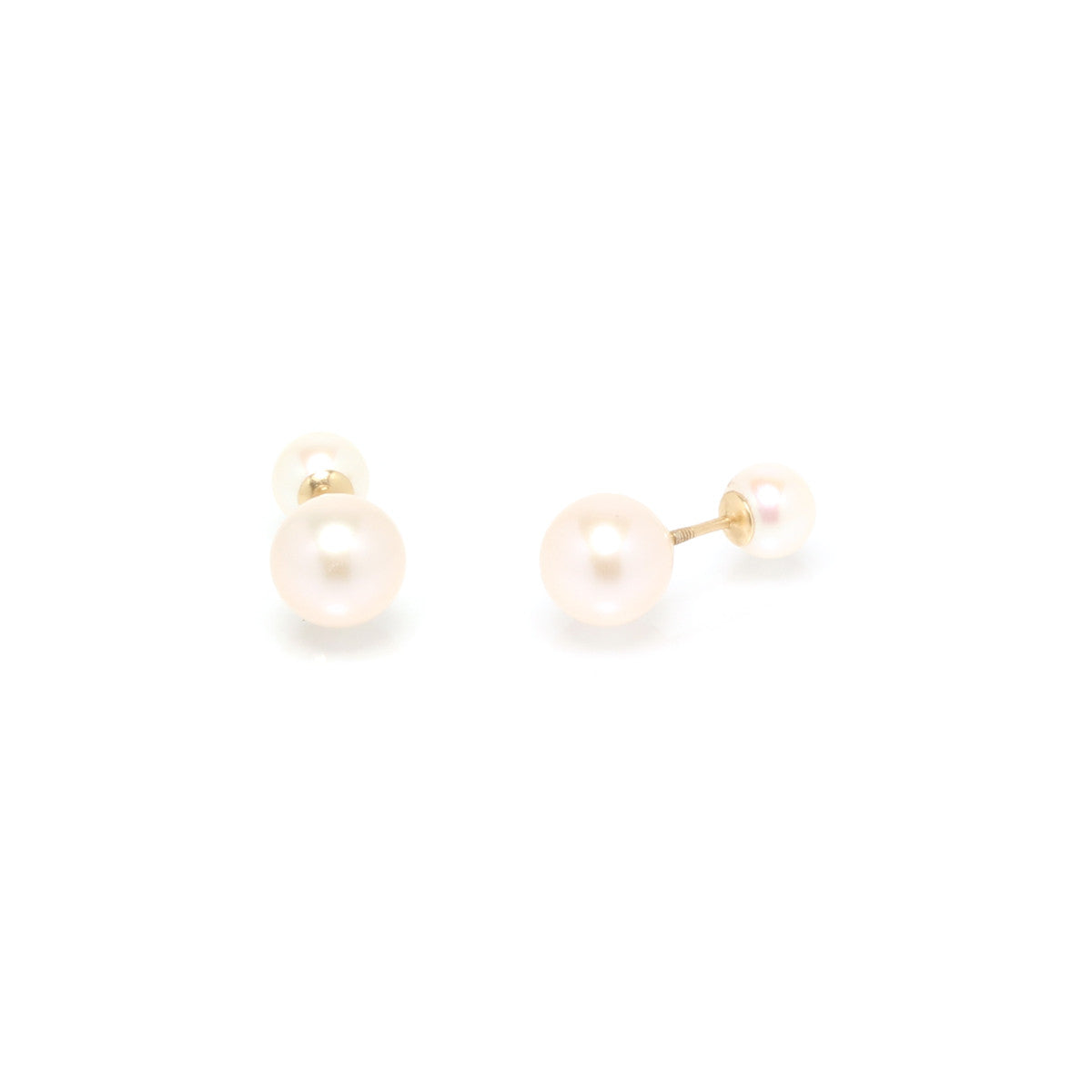 14k mixed pearl reversible studs