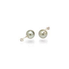 14k princess diamond and tahitian pearl reversible studs