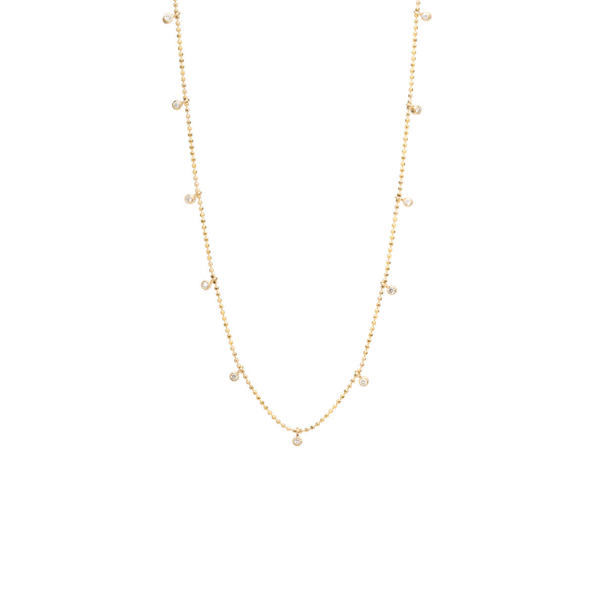 Zoë Chicco 14kt Yellow Gold 11 Dangling White Diamonds Necklace