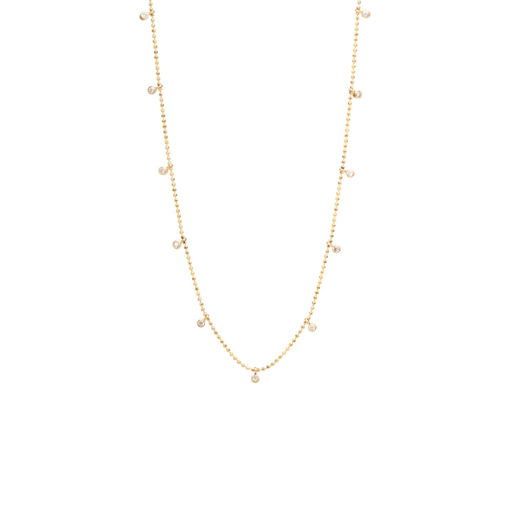 14k 11 dangling diamonds necklace