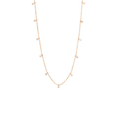 Zoë Chicco 14kt Rose Gold 11 Dangling White Diamonds Necklace