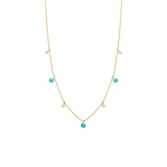 14k turquoise and diamond dangle necklace