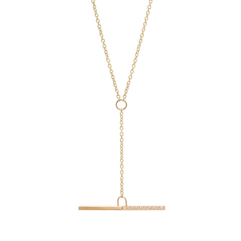 14k black and white pave diamond drop bar necklace
