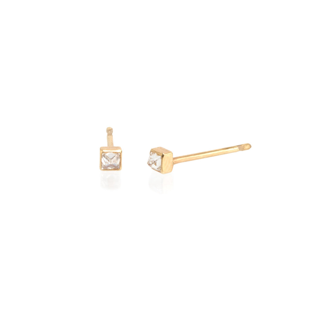 Zoë Chicco 14kt Yellow Gold Inverted White Diamond Spike Stud Earrings